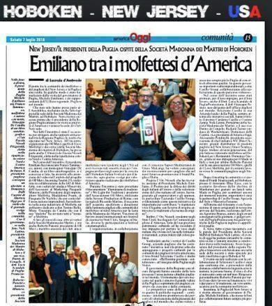 Il Presidente Emiliano nella comunità Pugliese di New York
