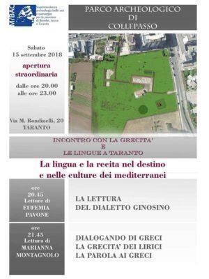 I beni culturali a Taranto al Parco Archeologico di Collepasso