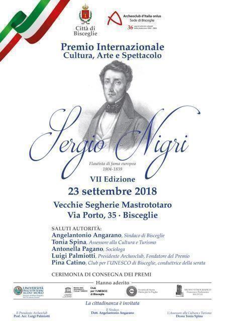 """Premio Internazionale Arte – Cultura – Spettacolo """" Sergio Nigri"""""""