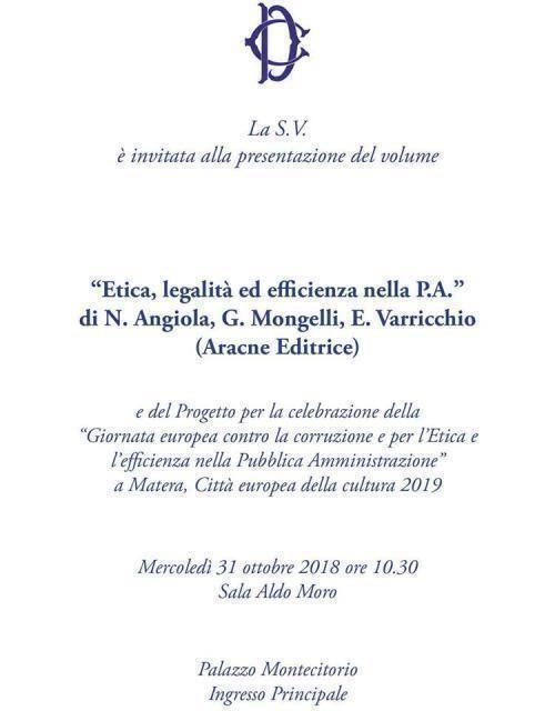 Etica nella P.A., il libro di tre baresi alla Camera