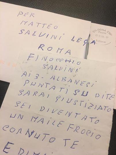 'Sarai giustiziato', minacce a Salvini