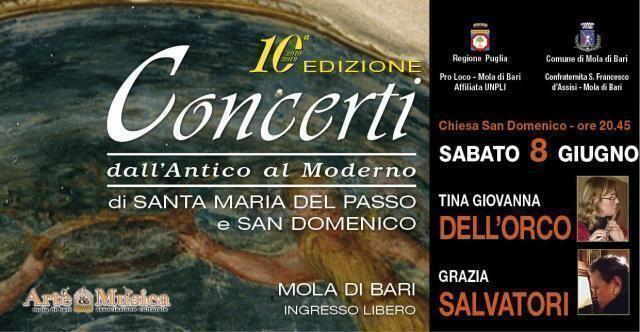 Sabato 8 giugno in San Domenico a Mola concerto per flauto ed organo