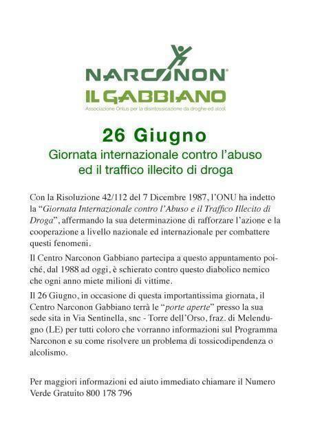 Ass. Narconon Il Gabbiano e Giornata Internazionale Contro la Droga