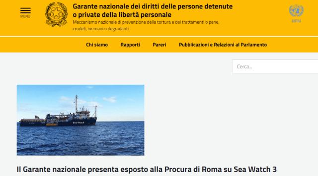 Assurdo: ignorato l'esposto del garante nazionale su Sea Watch 3