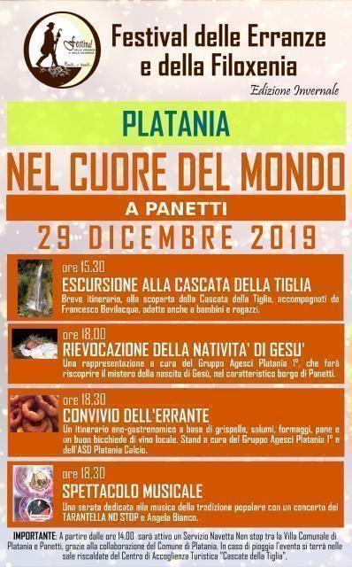 Domenica 29 dicembre nel cuore del mondo a Panetti di Platania
