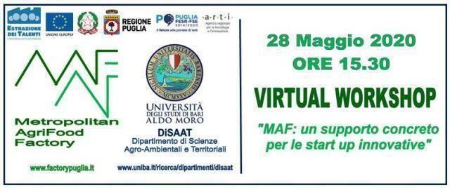 """Virtual workshop """"Maf: un supporto concreto per le start up innovative"""