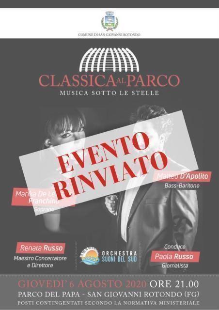 """Rinvio concerto """"classica al parco – musica sotto le stelle"""""""