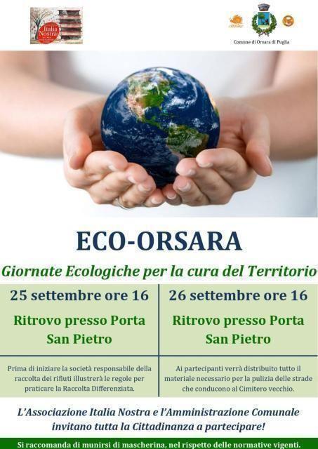"""""""Eco-Orsara"""", le giornate ecologiche il 25 e 26 settembre"""