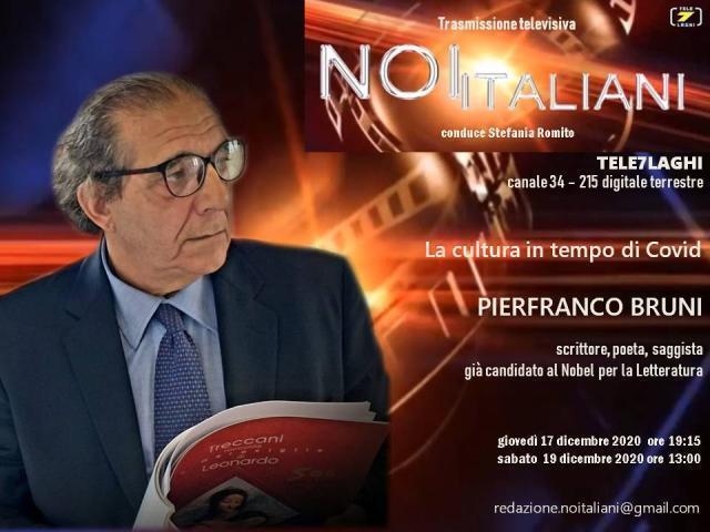 """Pierfranco Bruni ospite della trasmissione televisiva """"Noi italiani"""""""