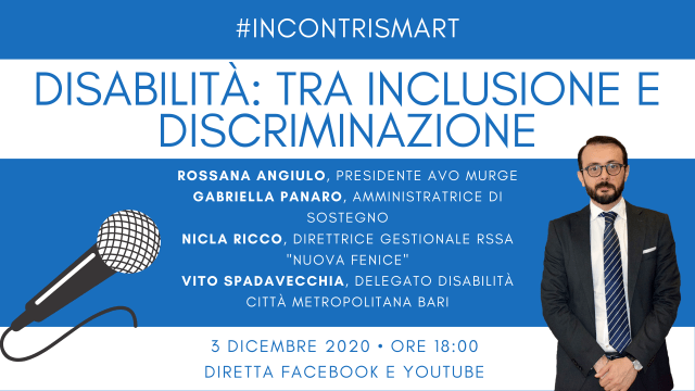 Giornata mondiale disabilità, iniziativa online su inclusione e discriminazione