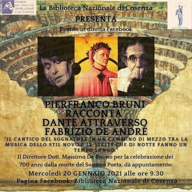 """Lectio di Pierfranco Bruni """"Dante in De André"""" alla Biblioteca Nazionale di Cosenza"""