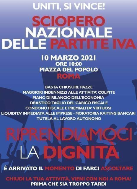 Covid: dalla Puglia a Roma, le partite iva in piazza il 10 marzo per lo sciopero nazionale