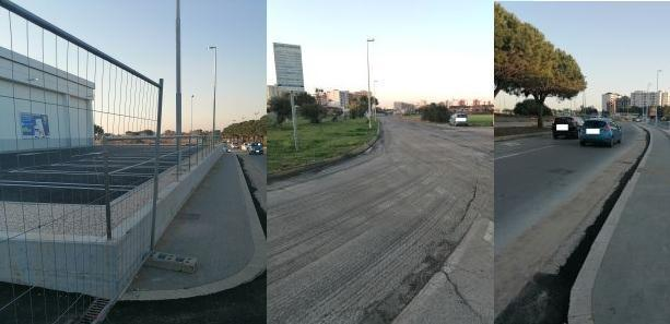 Taranto – periferie – Strada e marciapiedi in Via Mediterraneo