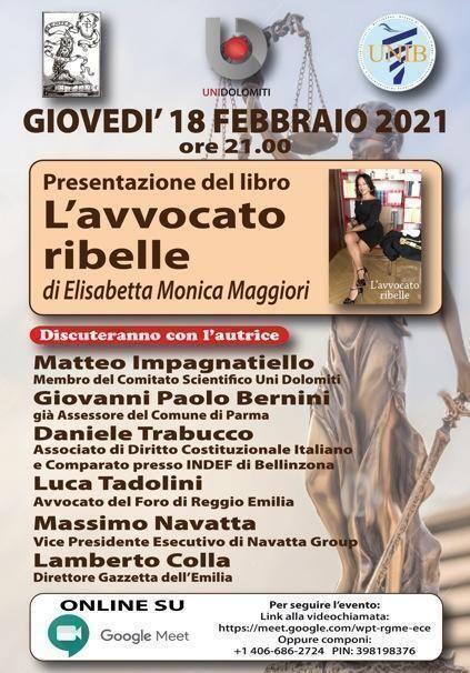 """Presentazione del libro """"L'avvocato ribelle"""", giovedì 18 febbraio ore 21:00, su piattaforma Google meet"""