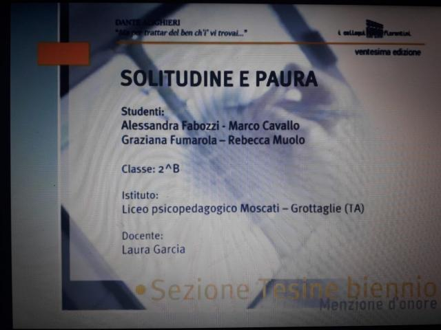 """Menzione d'onore ai """"Colloqui fiorentini"""" per gli studenti del Liceo Moscati di Grottaglie"""
