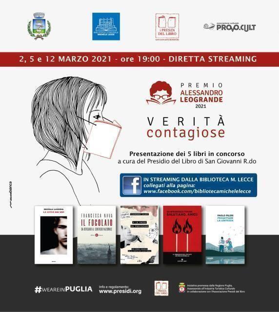 """Premio Presìdi del Libro Alessandro Leogrande, in diretta streaming dalla biblioteca """"Michele Lecce"""""""