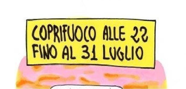 Notizia disegnata da Paolo Piccione, il coprifuoco alle 22?