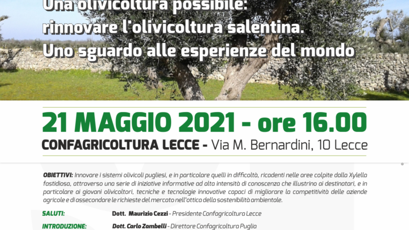 Confagricoltura Puglia promuove una serie di webinar formativi. Venerdì si parlerà di Olivicoltura con l'assessore Pentassuglia