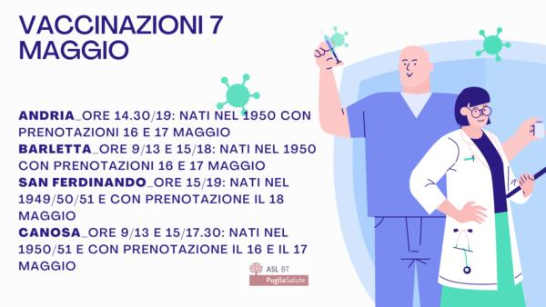 Vaccinazioni negli hub della Asl Bt