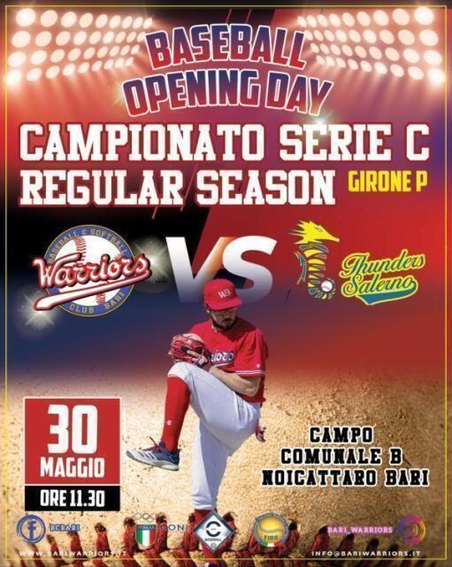 Ritorna il grande Baseball a Noicattaro.Il BC Bari Warriors contro Thunders di Salerno per l'Opening Day