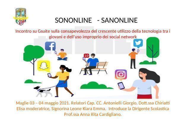 """""""Sononline – sanonline"""" incontri formativi per l'uso consapevole e Responsabile dei social"""