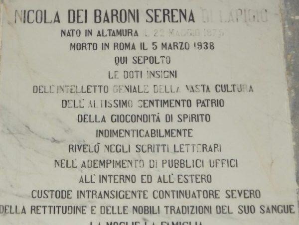 """Un monumento al Senatore altamurano Nicola Serena figura importante dello """"Sperone"""" d'Italia"""