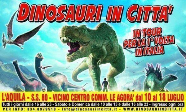 """Per la prima volta in Italia dall'Inghilterra il tour """"Dinosauri in città"""" a L'Aquila"""