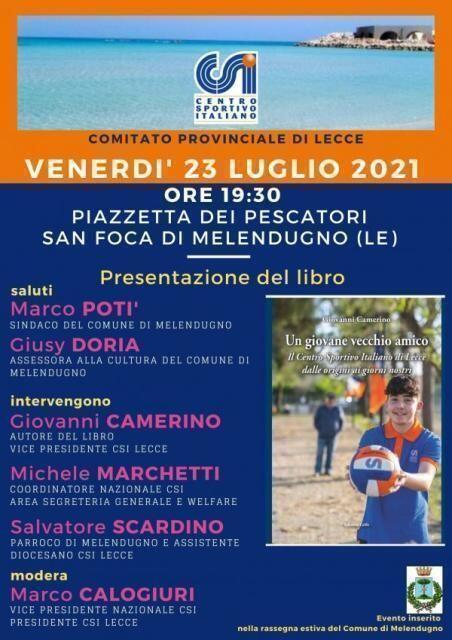 A San Foca di Melendugno (Le) la presentazione del libro del Cav. Giovanni Camerino sulla storia del CSI di Lecce