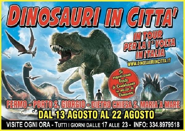"""A Fermo il tour """"Dinosauri in città"""", produzione inglese mai vista in Italia"""